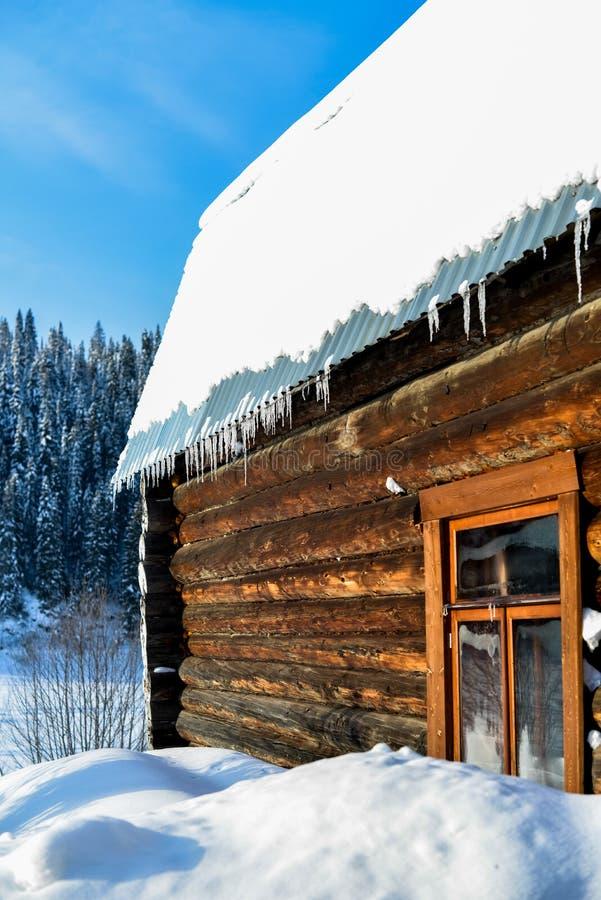 Piękny drewniany dom w zimie pogodnej obrazy stock
