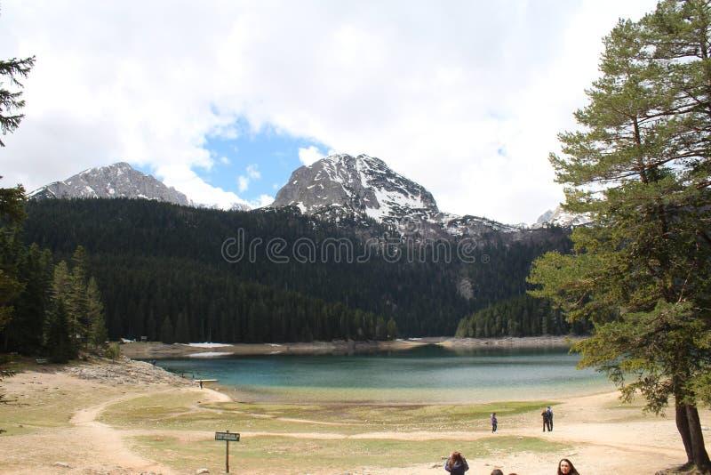 Piękny Durmitor park narodowy Meded osiąga szczyt, i Czarny jezioro, Crno jezero, Zabljak zdjęcie royalty free