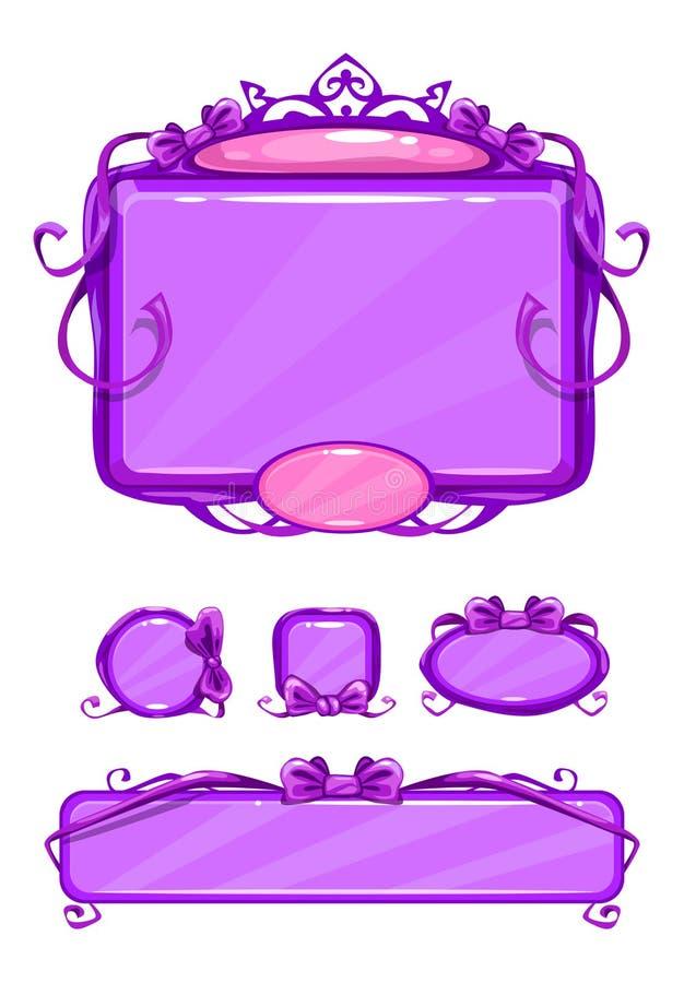 Piękny dziewczęcy fiołkowy gemowy interfejs użytkownika royalty ilustracja