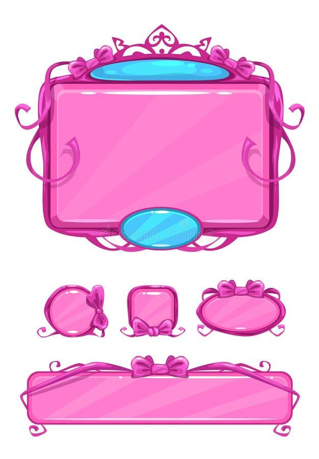 Piękny dziewczęcy różowy gemowy interfejs użytkownika ilustracji