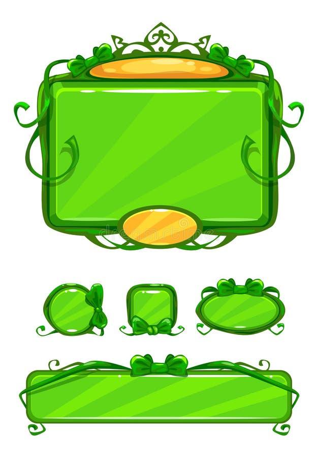 Piękny dziewczęcy zielony gemowy interfejs użytkownika royalty ilustracja
