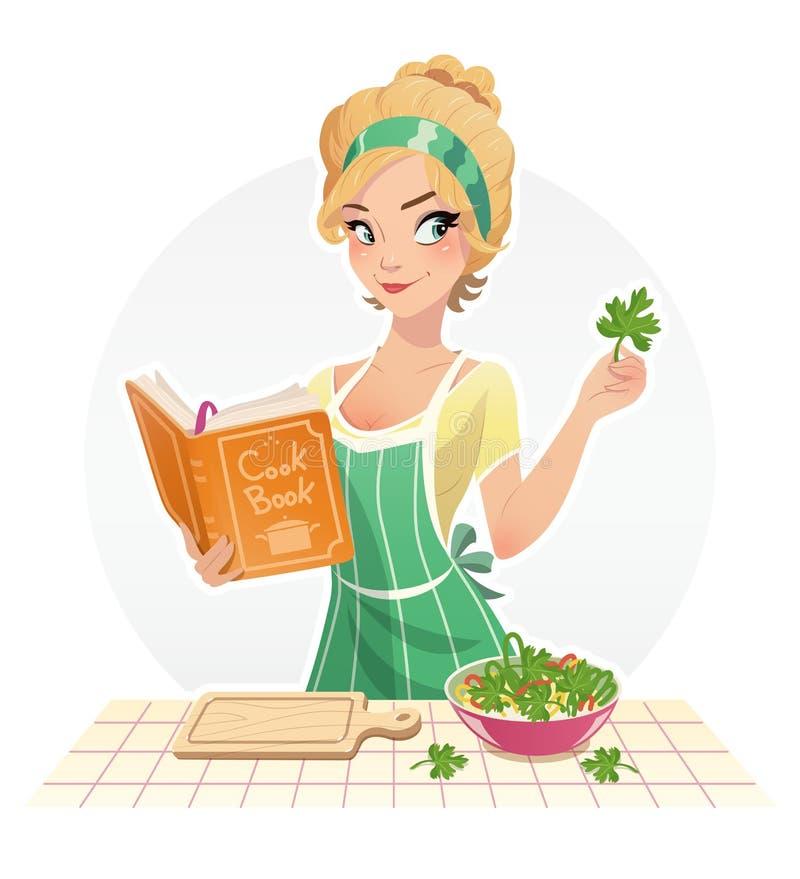 Piękny dziewczyna kucharza jedzenie z książką kucharska ilustracji
