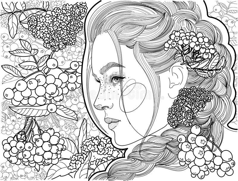 Piękny dziewczyna profil wśród wiązki rowan royalty ilustracja