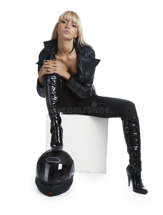 piękny dziewczyny hełma motocykl obrazy stock