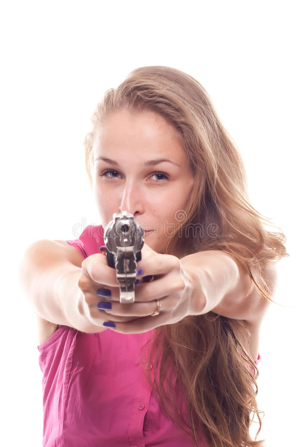 piękny dziewczyny pistoletu portret zdjęcia royalty free