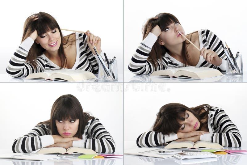 Piękny dziewczyny studiowanie, kolaż obraz royalty free