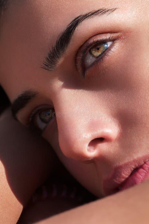 Piękny Żeński twarzy zakończenie Up zdjęcia stock