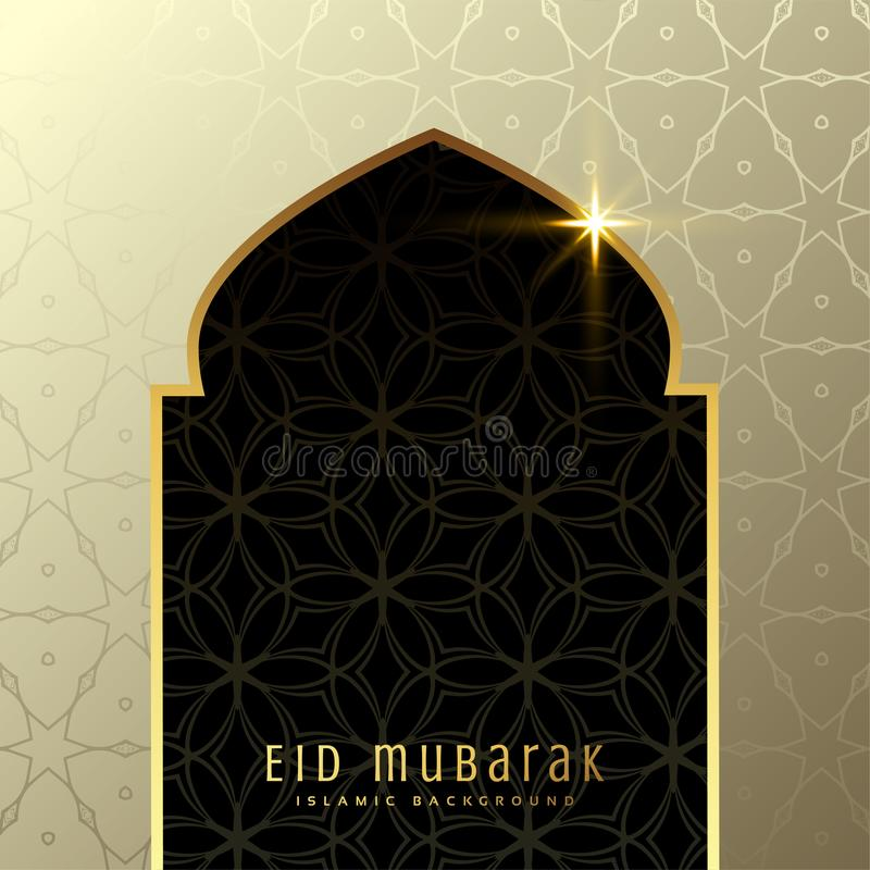 Piękny eid Mubarak powitanie z meczetowym drzwi w premia stylu ilustracja wektor