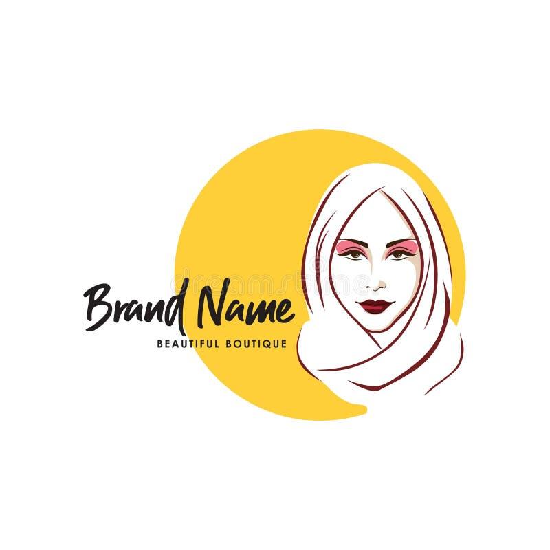 Piękny Elegancki Hijab dziewczyny logo, gatunek, Kreskowa sztuka, Wektorowy projekt, ikona, znak ilustracji