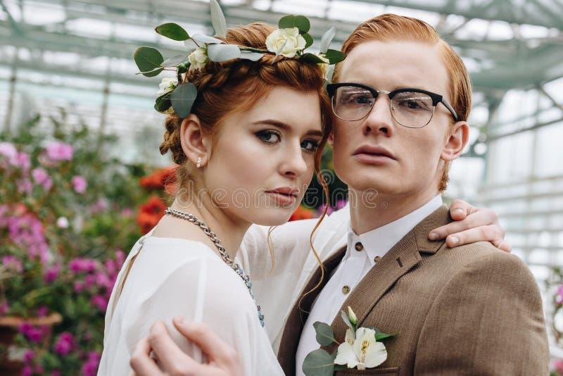 piękny elegancki młody ślub pary obejmowanie i patrzeć obraz royalty free