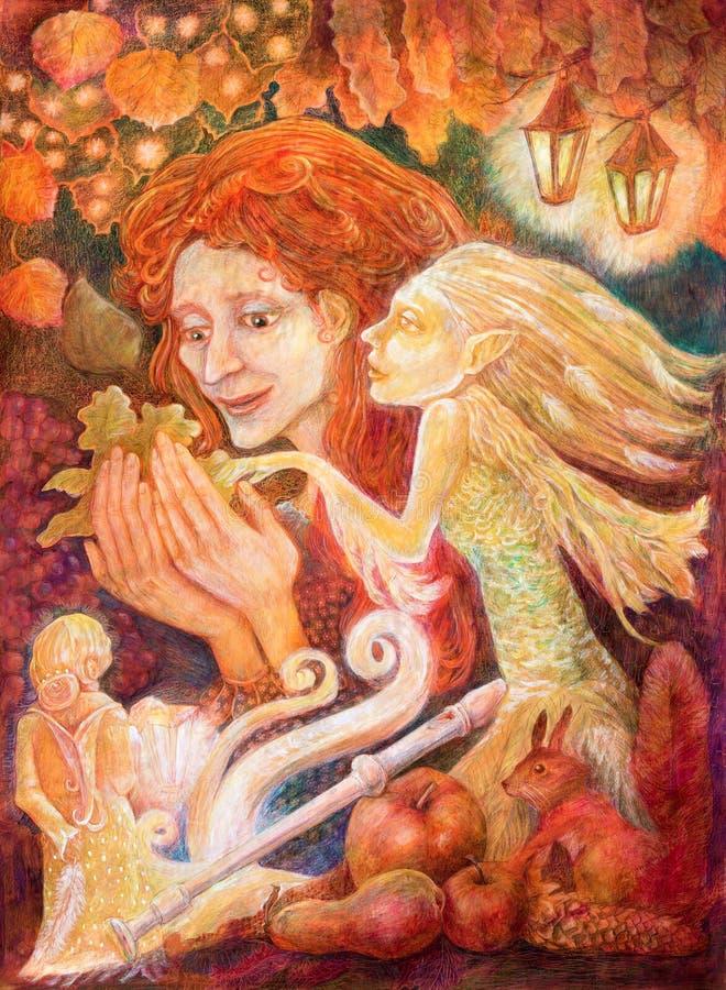 Piękny fantazja rysunek jesieni kobieta z czerwonym włosy ilustracja wektor