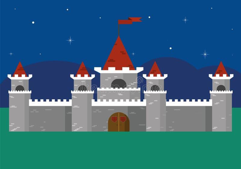 Piękny forteca Przy nocą ilustracja wektor