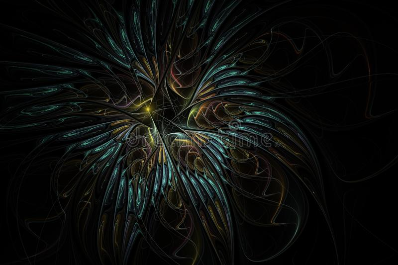 Piękny fractal kwiat Delikatny i miękki kwiecisty wzór na ciemnym tle royalty ilustracja
