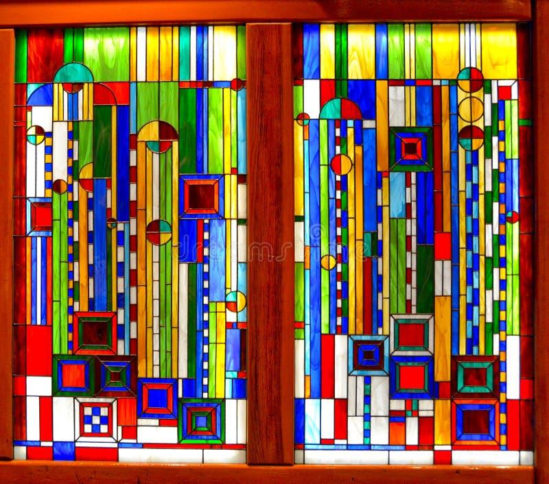 Piękny Frank Lloyd Wright witraż przy Broadmoor hotelem zdjęcia stock