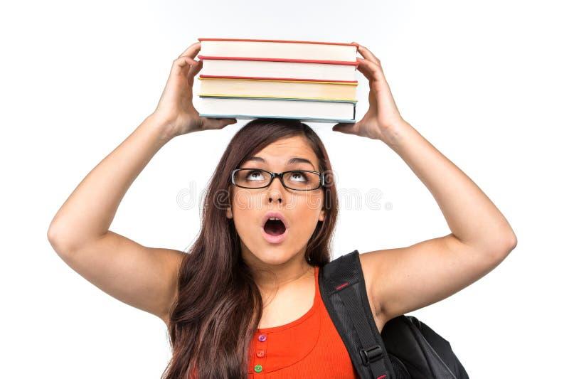 Piękny głupek dziewczyny uczeń jest ubranym szkła zdjęcie stock