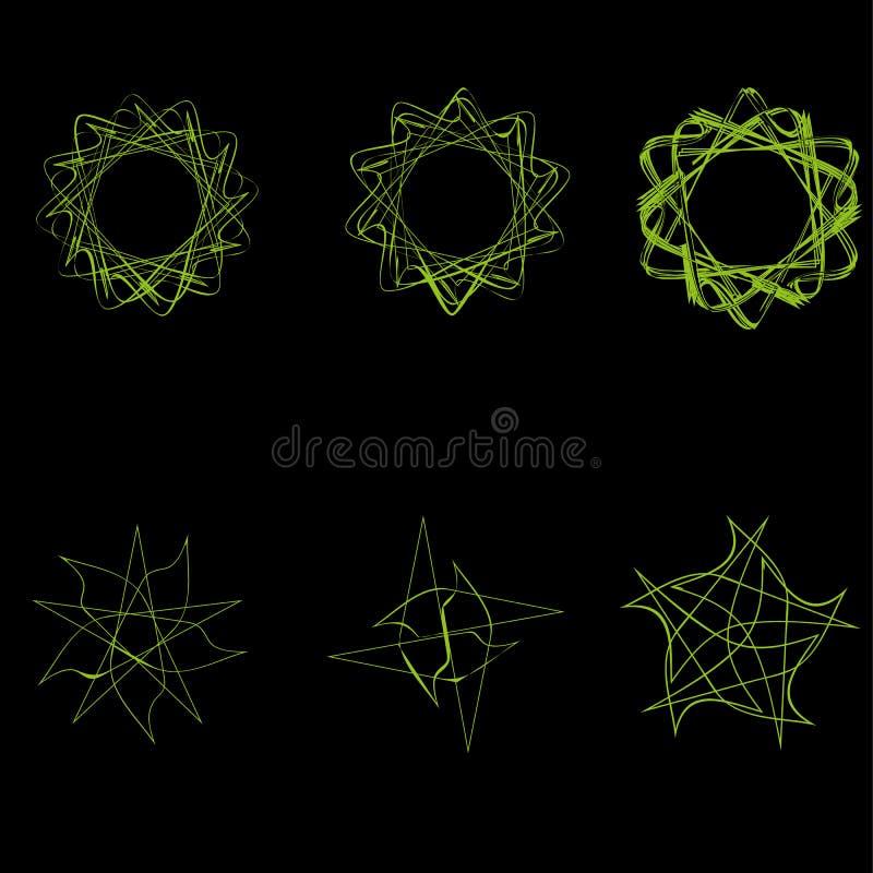 Piękny geBeautiful geometryczny wzór gra główna rolę iconsometric deseniowe geometrical gwiazdy ilustracji