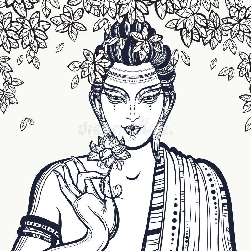 Piękny graficzny Buddha stawia czoło nad Bodhi drzewem Pociągany ręcznie wysokiej jakości wektorowy skład Duchowi i religijni mot ilustracja wektor