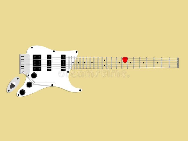Piękny graficzny projekt gitara elektryczna i wybór, czerwony gitara wybór na fingerboard, projekta gitara pojęcie ilustracji