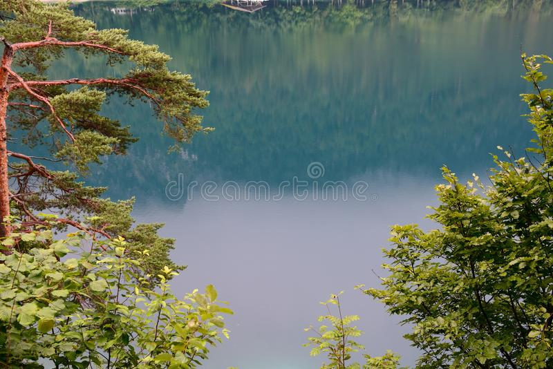 Piękny halny jeziorny Alpsee, Hohenschwangau na chmurnym dniu -, Niemcy obraz royalty free