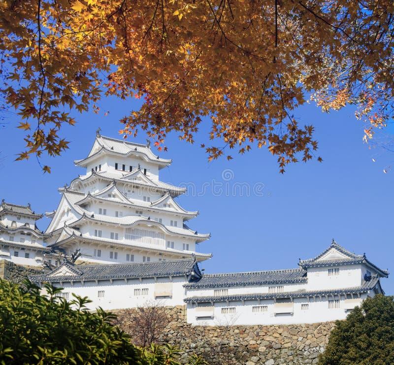 Piękny Himeji kasztel druing sezon jesiennego z ładnym kolorem fotografia stock