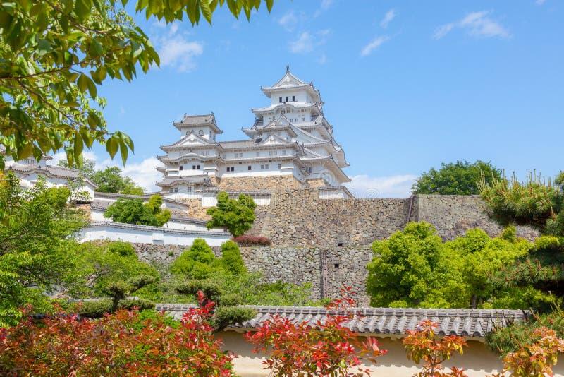 Piękny Himeji kasztel, ogródy i fotografia royalty free