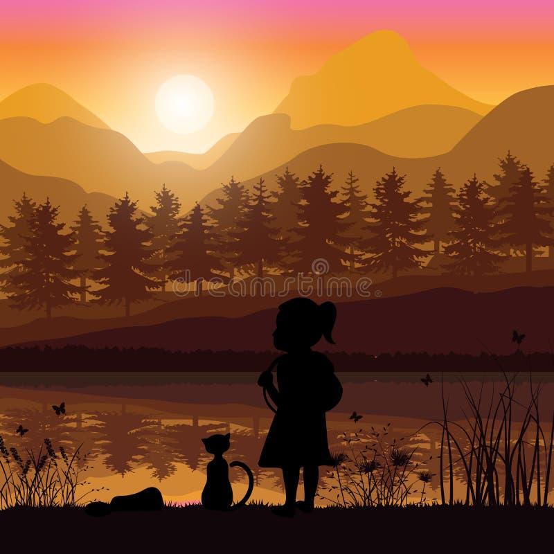 Piękny i dziewczyna patrzejemy naturę ilustracja wektor