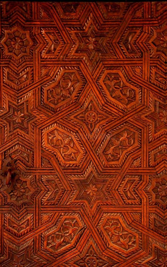 Piękny i w zawiły sposób arabeskowy drewniany cyzelowanie fotografia royalty free