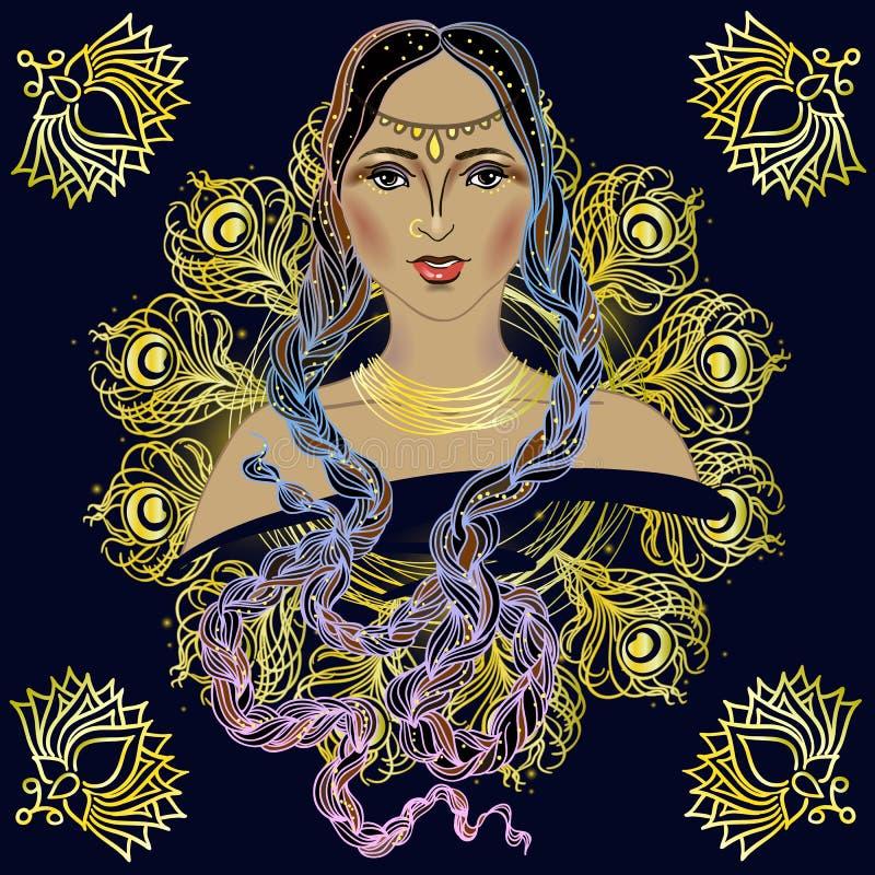 Piękny Indiański brunetki młodej kobiety portret Boho stylu mody projekt i buddystów symbole również zwrócić corel ilustracji wek ilustracja wektor