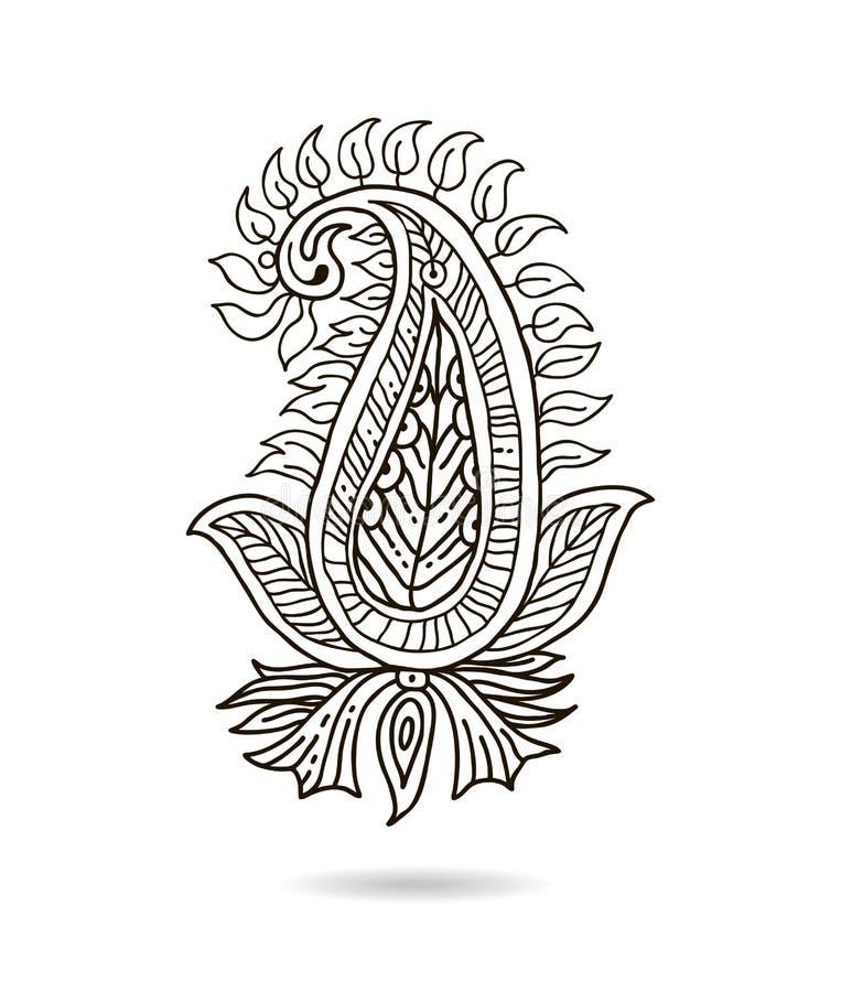 Piękny Indiański kwiecisty ornament dla twój biznesu sztuki projekta remisu kwiatu ręki linia ozdobny stylowy tradycyjny ukrainia ilustracja wektor