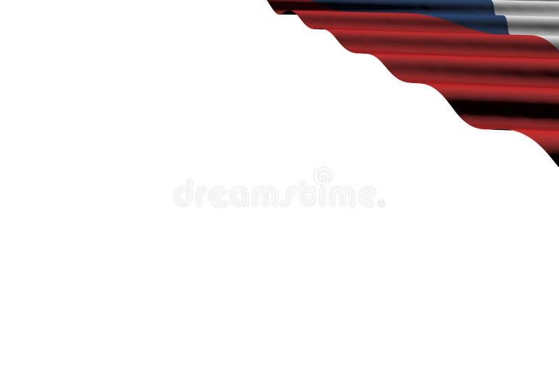 Piękny jakaś okazji flagi 3d ilustracja - błyszczący flagę Czechia z dużymi fałdami kłama mieszkanie w dobro wierzchołka kącie od royalty ilustracja