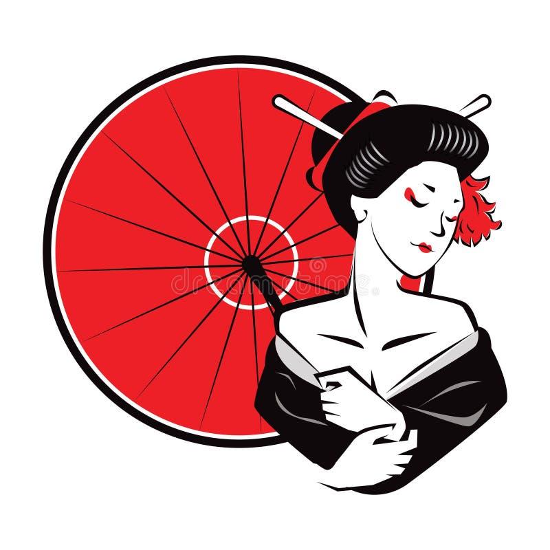 Piękny Japanesse gejszy odzieży czerwieni Nowożytny Egzotyczny parasol royalty ilustracja