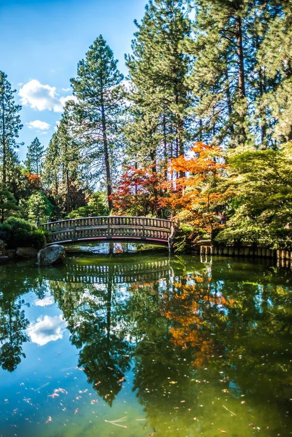 Piękny japończyka ogród przy Manito parkiem w Spokane, Washingon zdjęcie stock