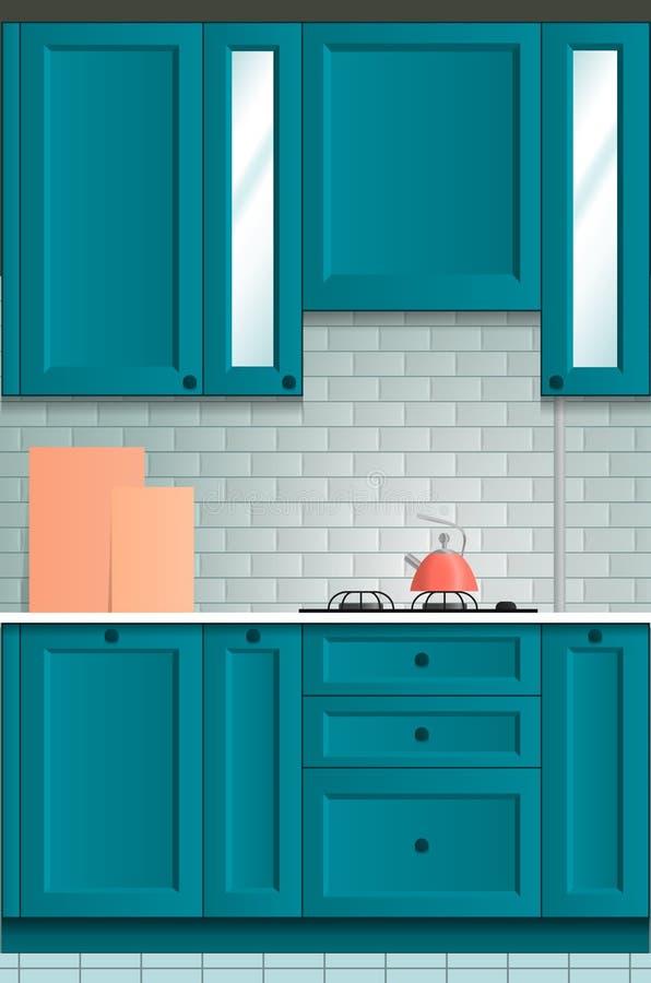 Piękny jaskrawy kuchenny tło Kuchnia set oceniać zdjęcie royalty free