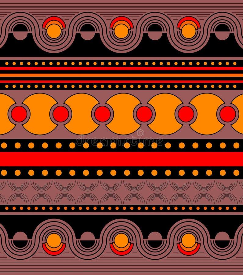 Piękny jaskrawy ornament w pomarańcze, czerwieni i czerń kolorach, Symetryczny horyzontalny ornament w rzędach z geometrycznym royalty ilustracja