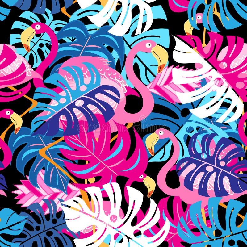 Piękny jaskrawy tropikalny wzór różowi flamingi ilustracji