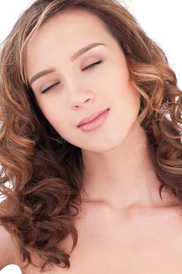 piękny jasny zamkniętej dziewczyny maekeup zamknięty zdjęcie royalty free