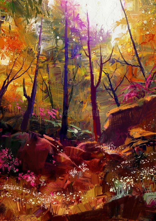 Piękny jesień las z światłem słonecznym royalty ilustracja