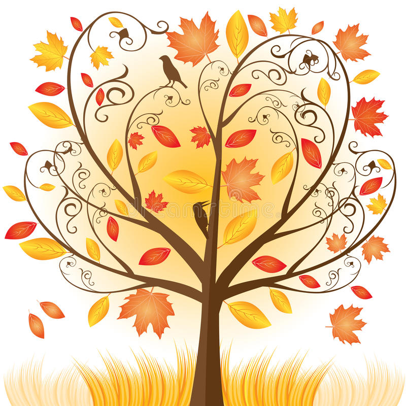piękny jesień spadek leafs drzewo ilustracja wektor