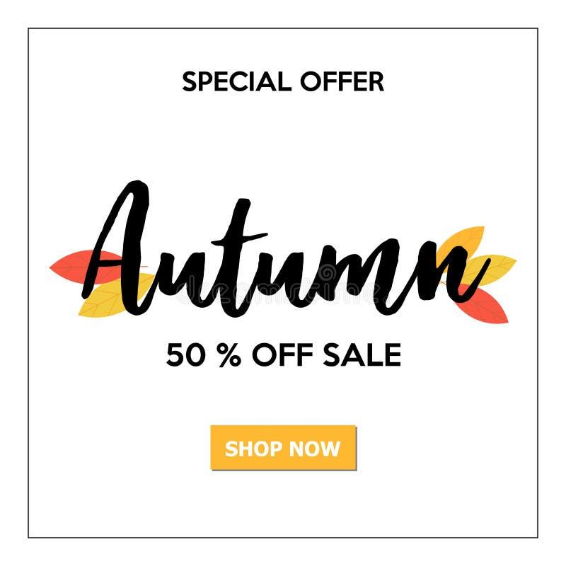 Piękny jesieni sprzedaży sztandar z literowaniem i liśćmi ilustracji