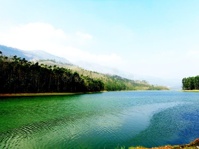 Piękny jezioro na Kerala zdjęcie royalty free
