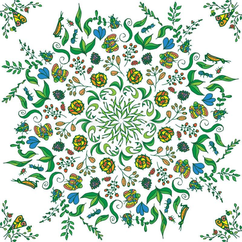 Piękny kółkowy kwiecisty bezszwowy wzór Ornamentacyjna round koronki ilustracja kwiecisty bukiet na lekkim tle royalty ilustracja