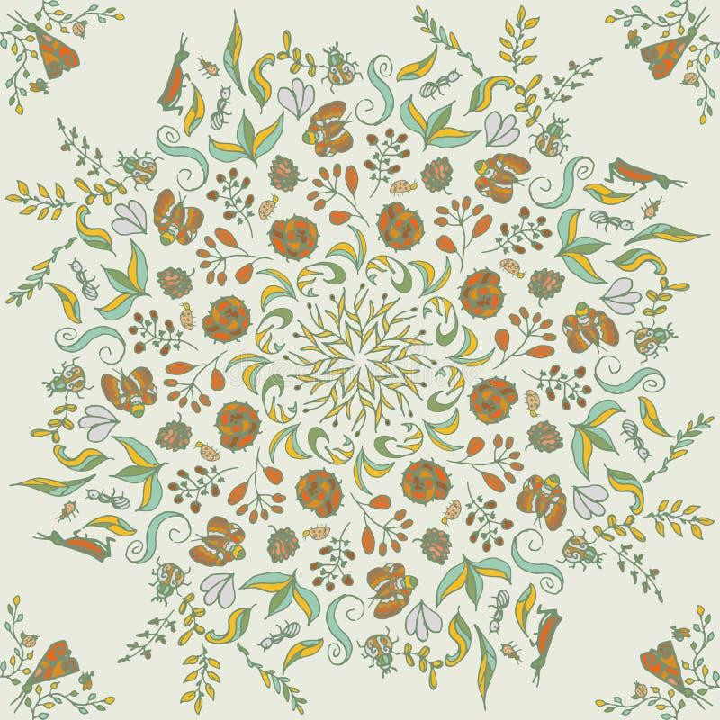 Piękny kółkowy kwiecisty bezszwowy wzór Ornamentacyjna round koronki ilustracja kwiecisty bukiet na lekkim tle ilustracji