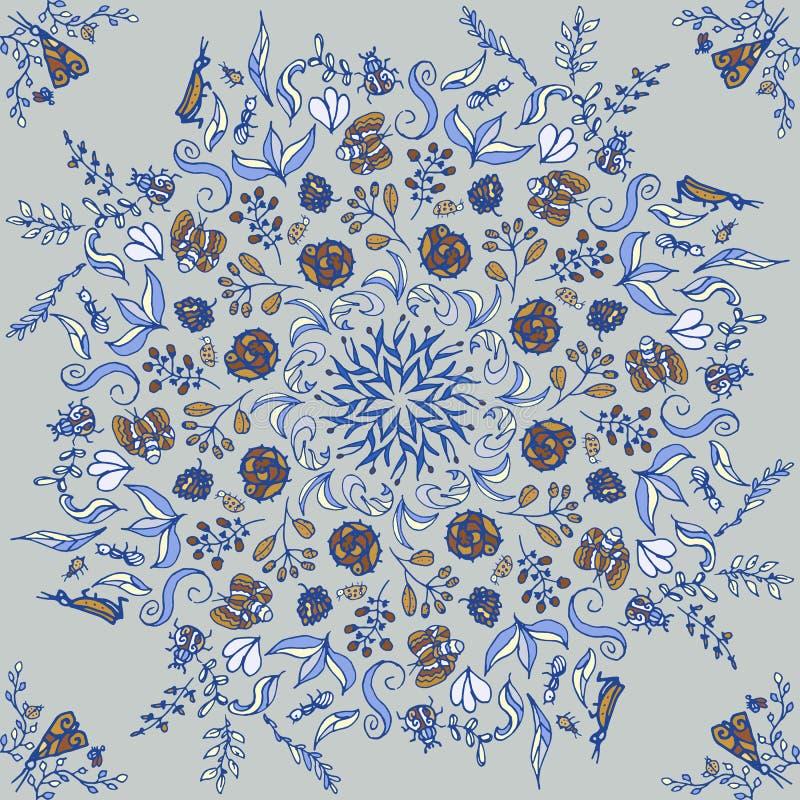 Piękny kółkowy kwiecisty bezszwowy wzór Ornamentacyjna round koronki ilustracja kwiecisty bukiet na lekkim tle ilustracja wektor