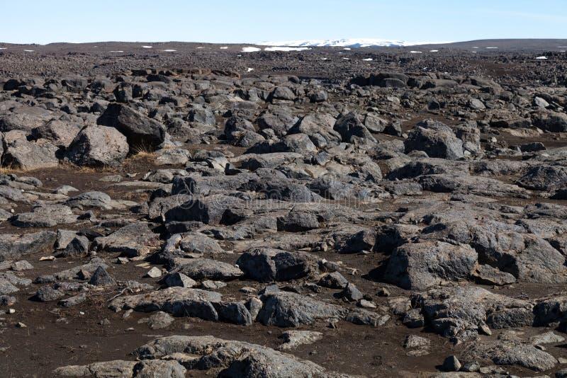 Piękny kamienisty skalisty pustynia krajobraz Iceland zdjęcia stock