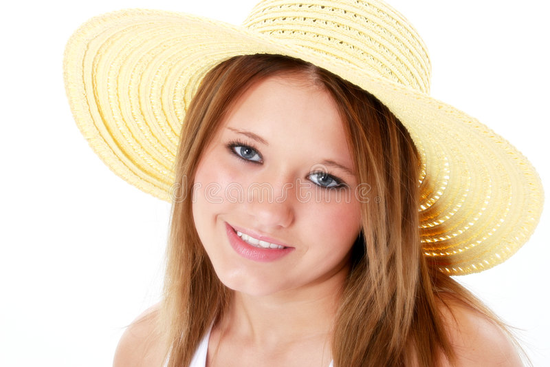piękny kapelusz z uśmiechniętym nastoletnią białym żółtymi fotografia royalty free