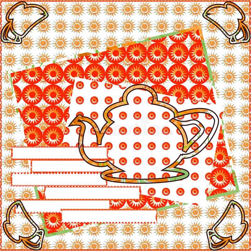 Piękny karciany zaproszenie dla popołudniowej herbaty ilustracji