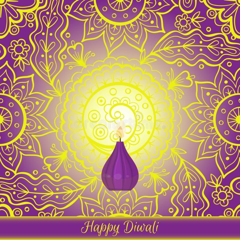 Piękny kartka z pozdrowieniami dla Hinduskiego społeczność festiwalu Diwali Szczęśliwa diwali festiwalu tła wektoru ilustracja royalty ilustracja