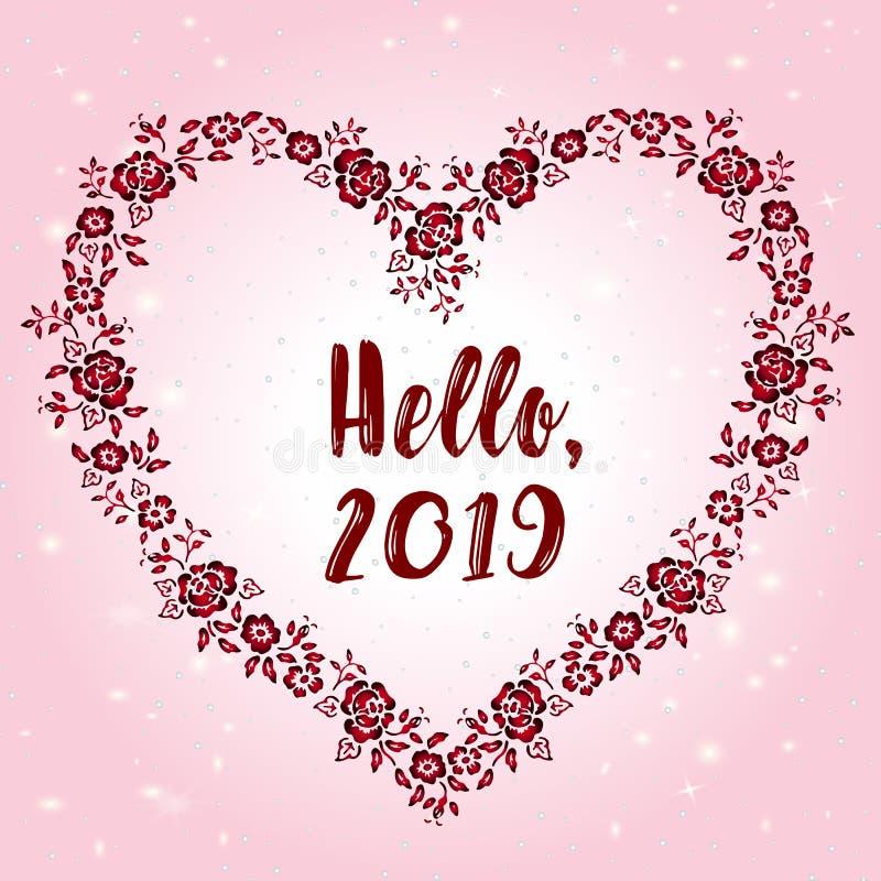 Piękny kartka z pozdrowieniami dla nowego roku - powitania, 2019 Piękna rama w formie serca na różowym tle royalty ilustracja
