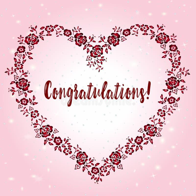 Piękny kartka z pozdrowieniami z gratulacje w kwiecistej ramie w formie serca na różowym tle ilustracji
