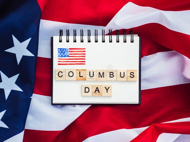 Piękny kartka z pozdrowieniami na Kolumb dniu Przygotowanie dla wakacje zdjęcia stock